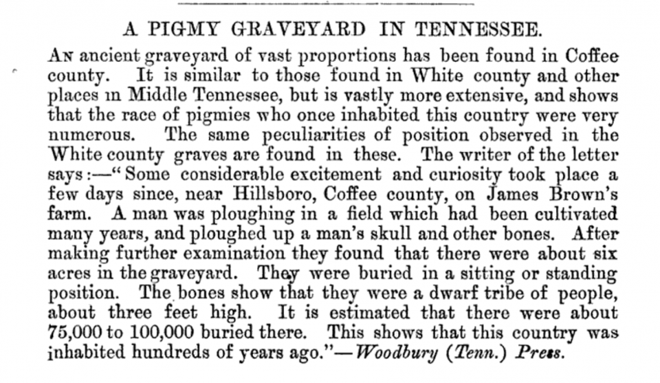 Historic newspaper article about Tennessee pygmy graves from Woodbury Press, republished in 1877 in the Journal of the Royal Anthropological Institute of Great Britain and Ireland, Volume 6. This makes no mention of stone burial boxes.