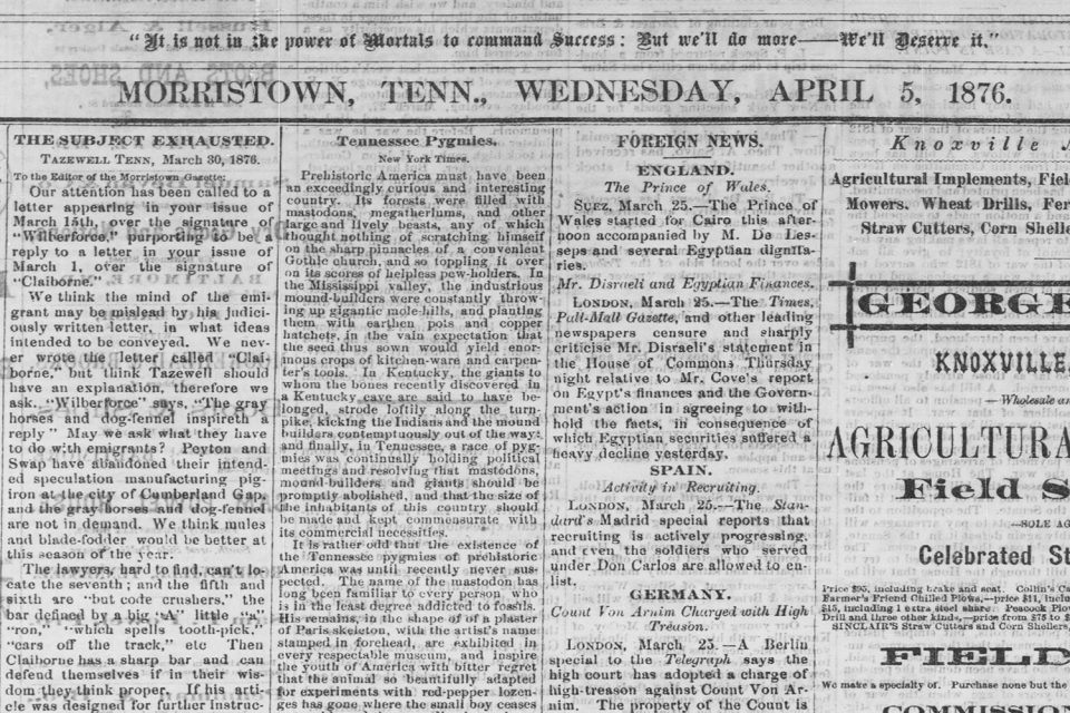 Morristown, Tennessee Gazette on April 5, 1876, article about the Tennessee Pygmies