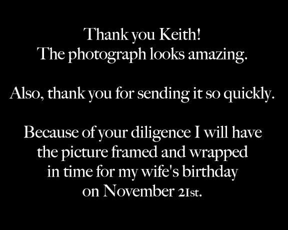 Actual client feedback for Keith Dotson Photography