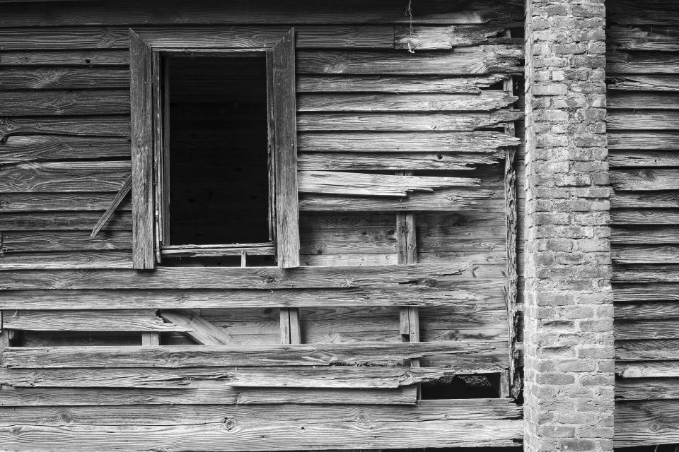 Weathered Ruins of an Abandoned House: Black and White Photograph by Keith Dotson. Click the image to buy a fine art print.