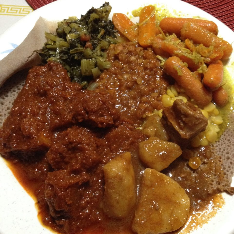 Plate overload from the buffet at Nashville's Gojo Ethiopian Cafe and Restaurant