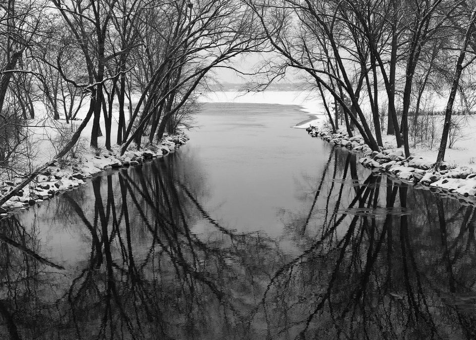Mouth of the Yahara River at Lake Monona - Madison, Wisconsin. Black and white photograph by Keith Dotson. Click to buy a fine art print.