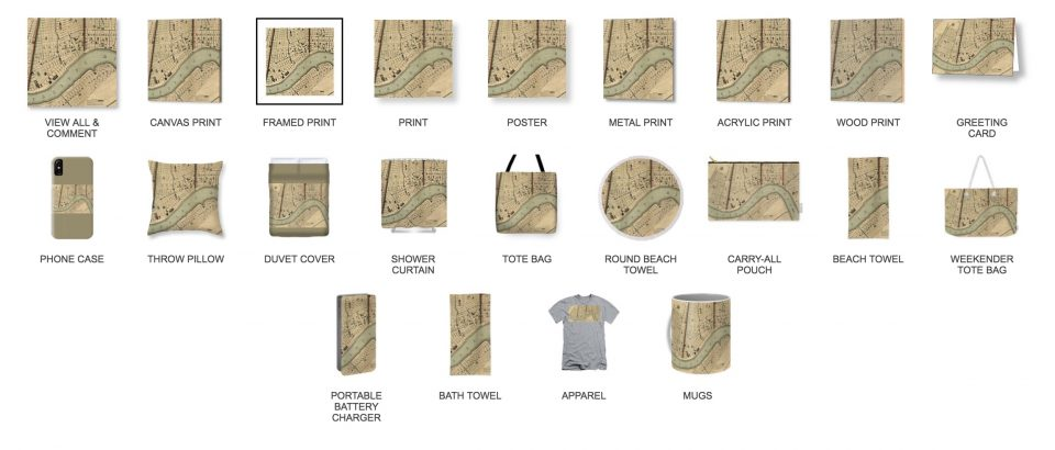 Other NOLA items available with the antique map design. Click and then scroll to bottom of page to see this list.