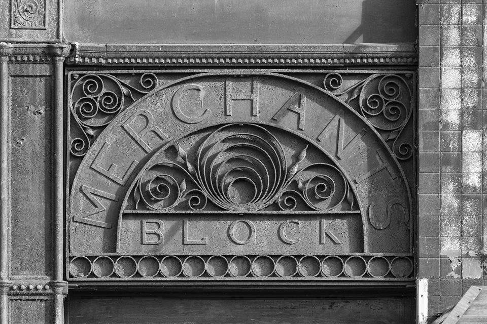 Merchant's Block sign, LaSalle, Illinois. Black and white photograph by Keith Dotson.