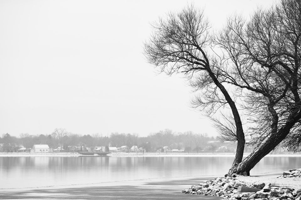 Winter Lake Black and White Landscape Photograph by Keith Dotson. Buy a fine art print here.