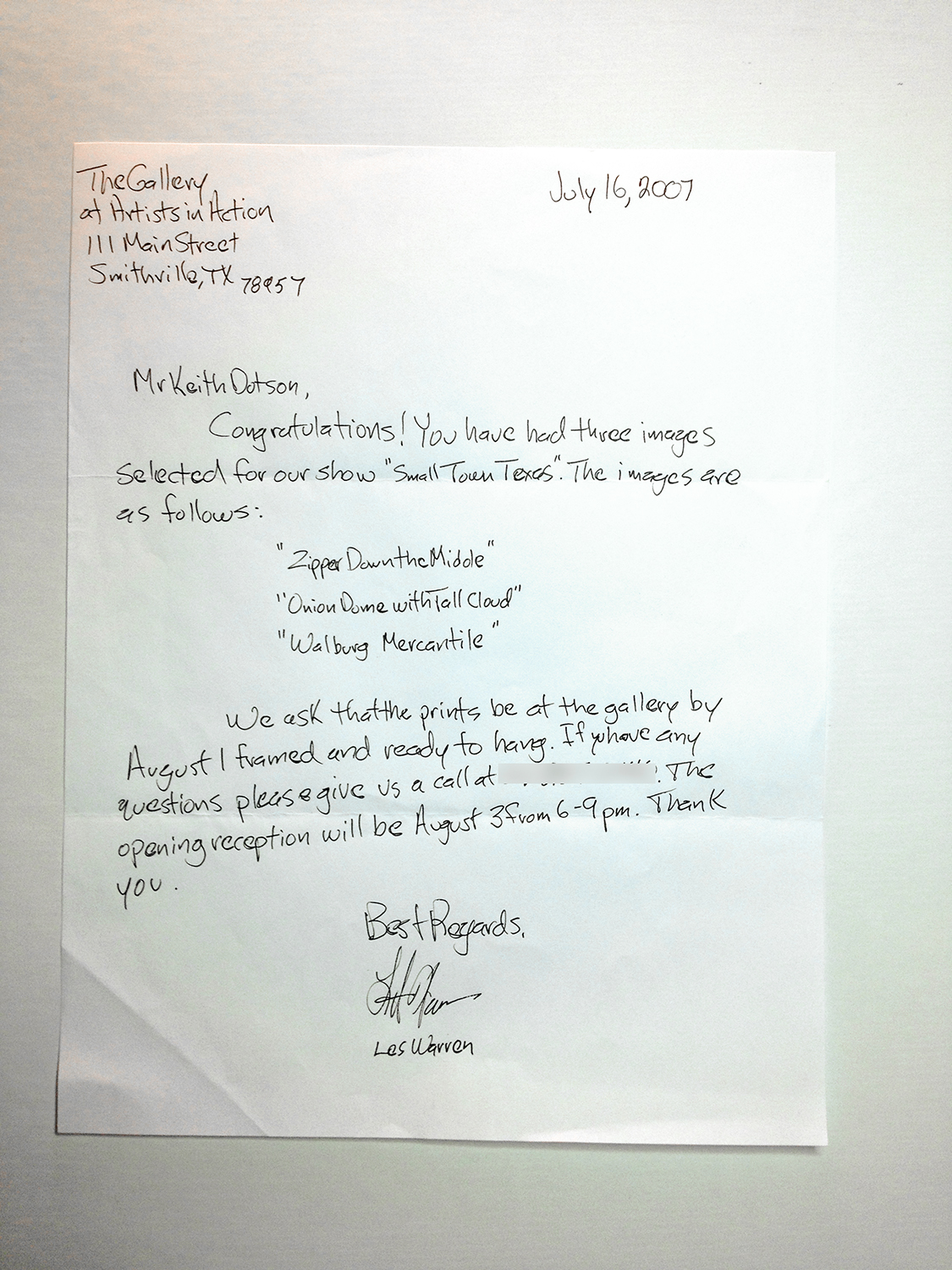 Acceptance letter for my very first photo exhibition ever, in 2007