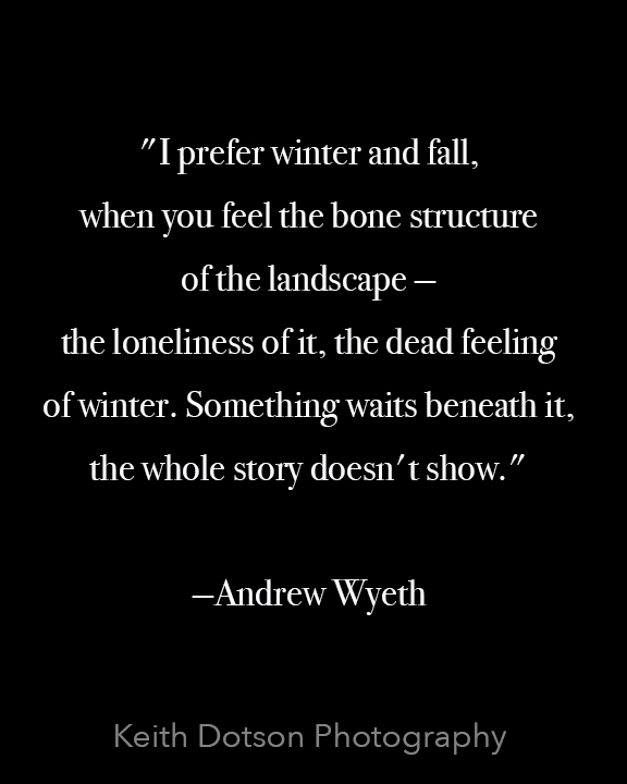 """I prefer winter and fall, when you feel the bone structure of the landscape — the loneliness of it, the dead feeling of winter. Something waits beneath it, the whole story doesn't show."" —Andrew Wyeth"