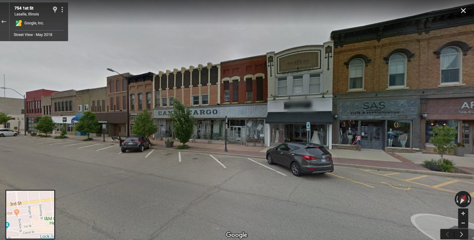 First Street in LaSalle, Illinois, was ground zero for the city's saloon and gambling era, which lasted from the 1930s until the mid-50s. Google Street View image.