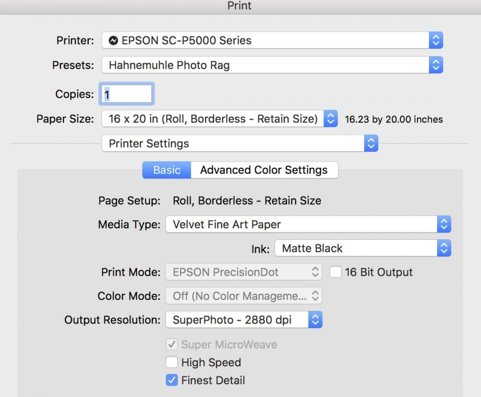 Print Settings dialog box detail image