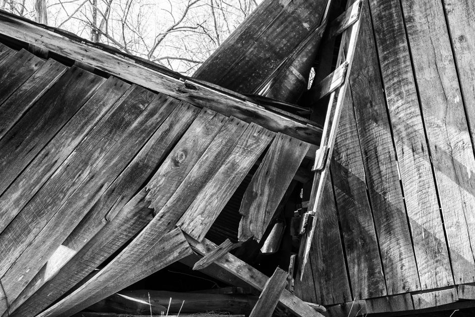 Collapsing Haybarn, black and white photograph by Keith Dotson. Click to buy a fine art print from my e-commerce site.