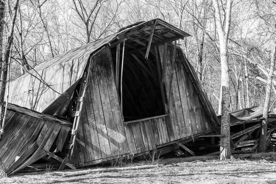 Collapsed Wooden Barn, black and white photograph by Keith Dotson. Buy a fine art print here (takes you to my secure e-commerce page).