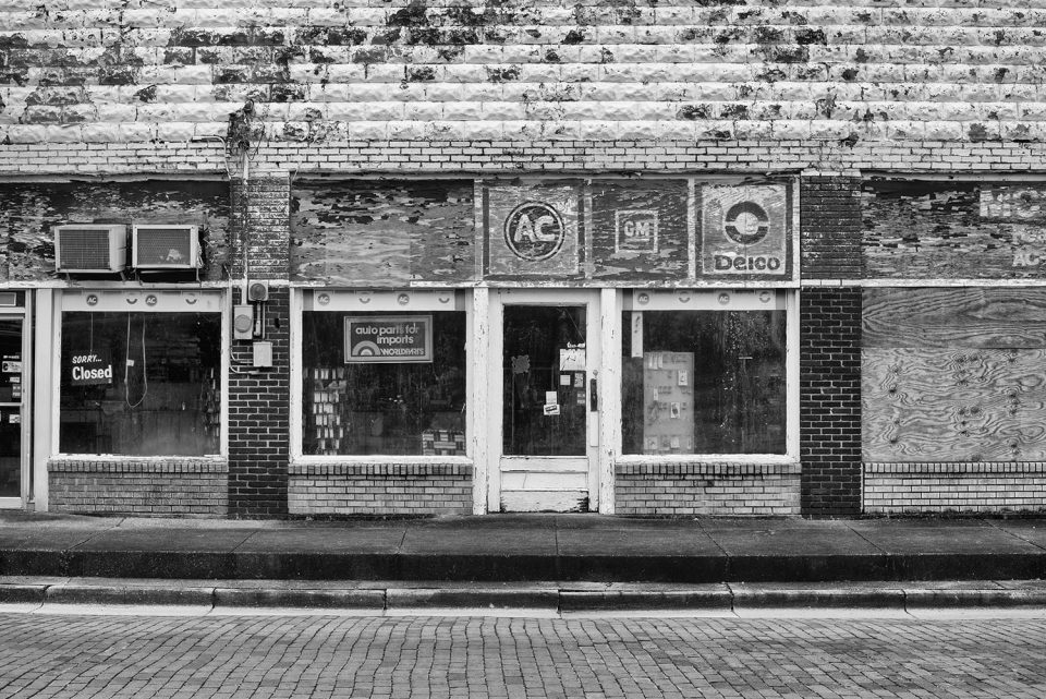 Abandoned auto parts store in the Mississippi Delta, Black and white photograph by Keith Dotson.