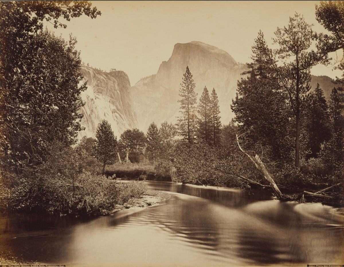 The Half Dome, 4,953 feet, Yosemite, Cal., by Carleton Watkins (American, 1829 - 1916), negative about 1865 - 1872; print about 1882, Albumen silver print. Getty Open Content Program.