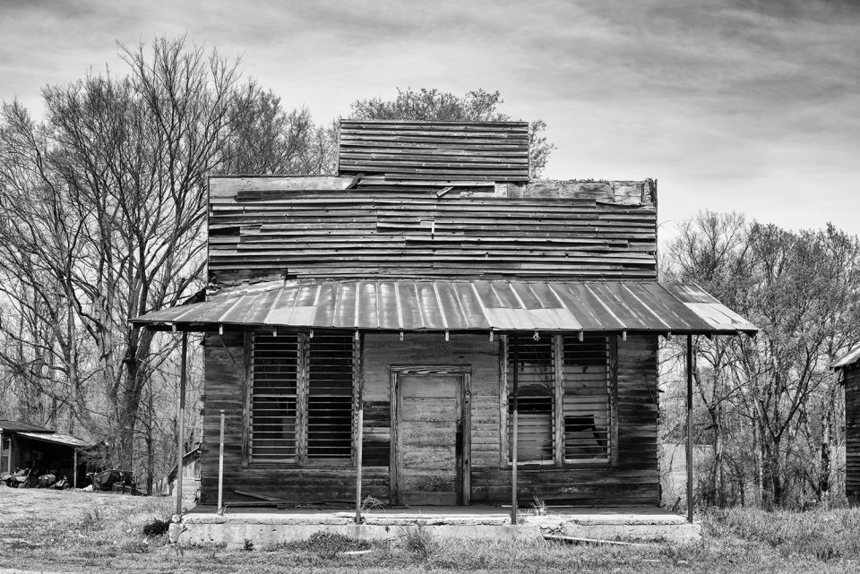 Abandoned wooden storefront in the southeastern US.