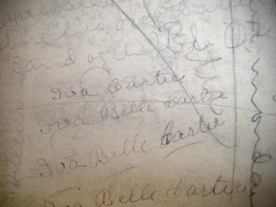 The handwritten signature of Iva Carter, as found in an old history textbook.
