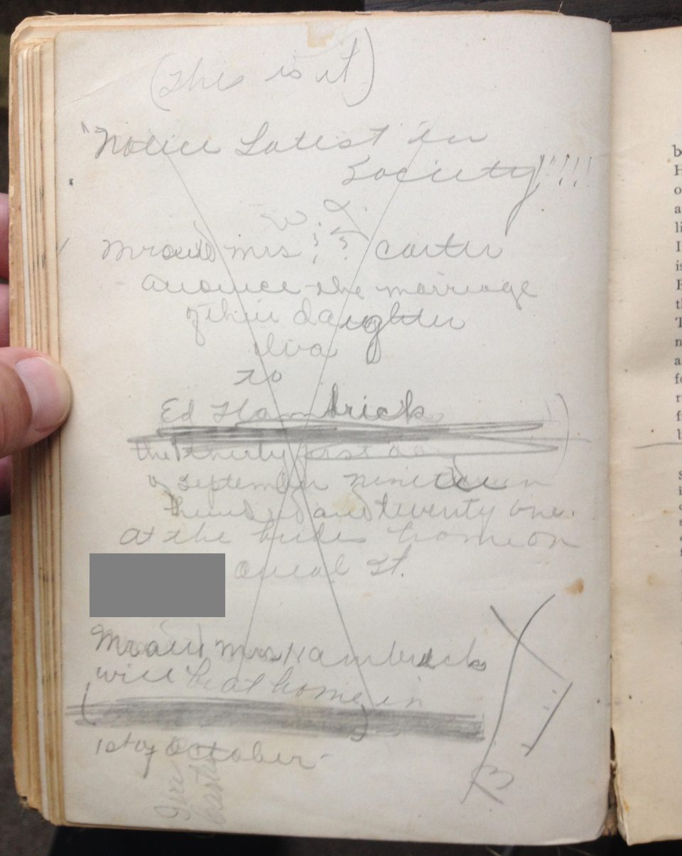 Iva Carter's handwritten marriage announcement, for a wedding date September 31, 1921.