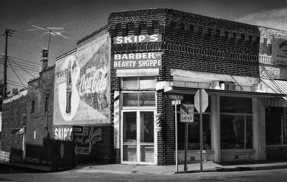 Skips Barber Shoppe in a small town in Arkansas, photographed on film in the early 1980s