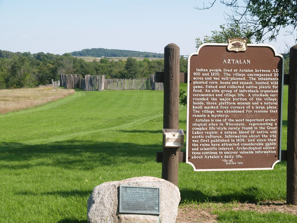 Markers on the grounds at Aztalan State Park in Wisconsin. Photograph by Keith Dotson.