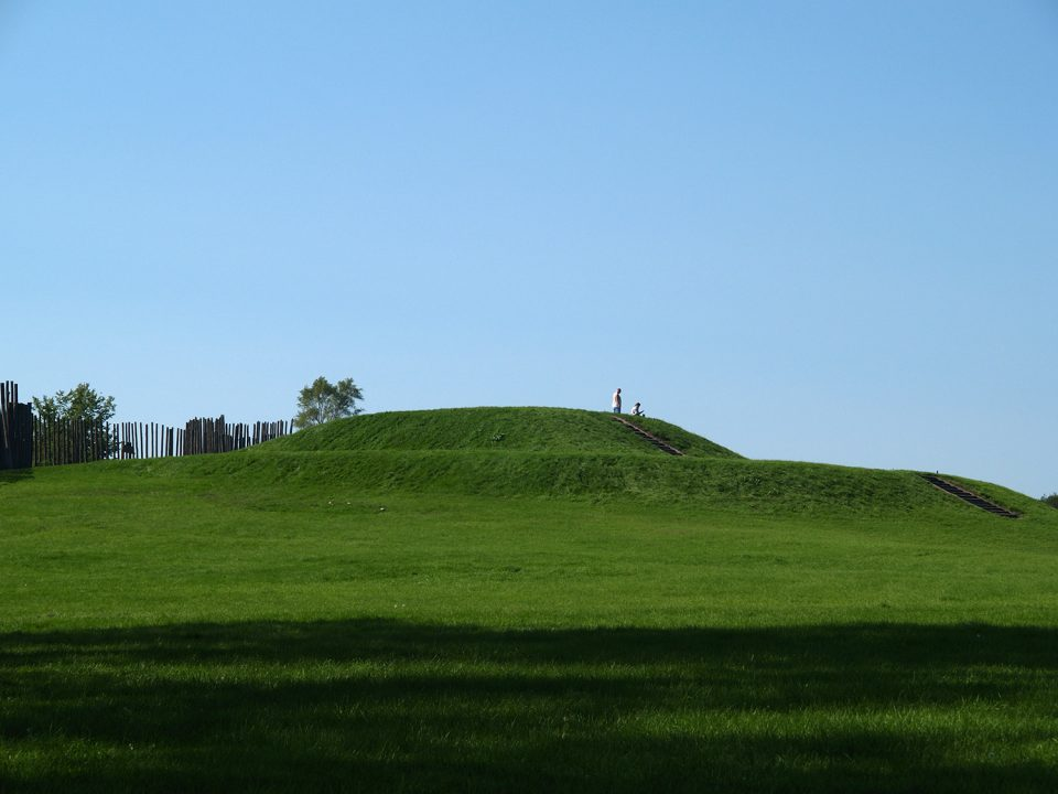 The large platform mound at Aztalan. This mound was built in stages, with each stage holding a structure on top. It may have been a religious temple, a home for the the most important leaders, or it may have served another function.