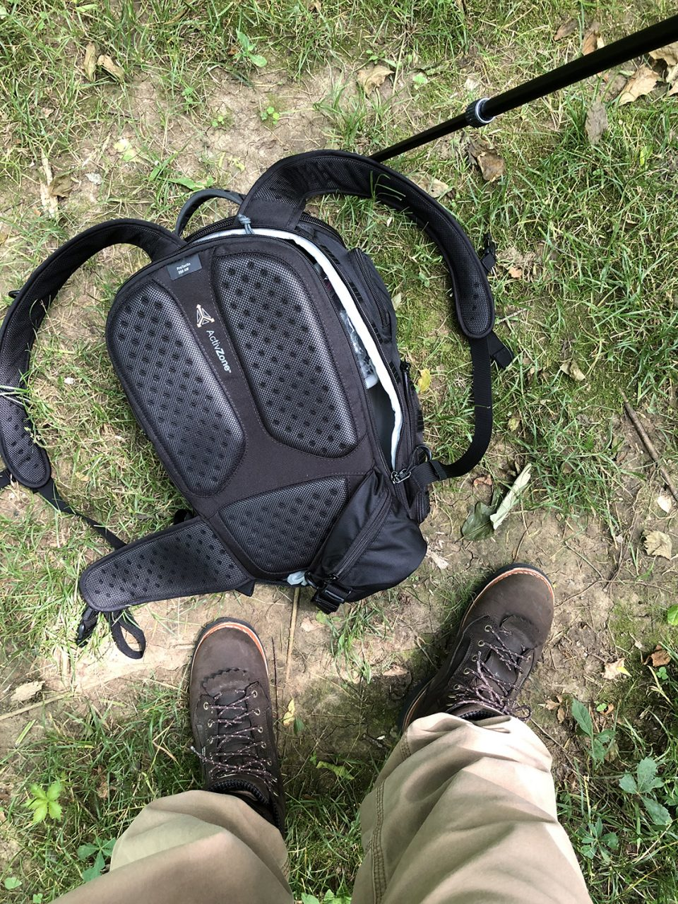 I had my total photo geek look going on for the hike, with pants bloused into my Redwing Irish Setter boots to help deter ticks