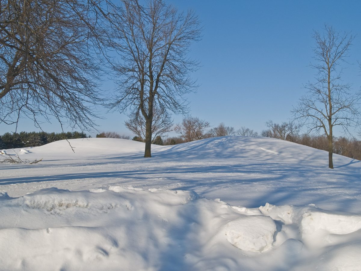 Aztalan mounds covered in deep snow. Photograph by Keith Dotson.