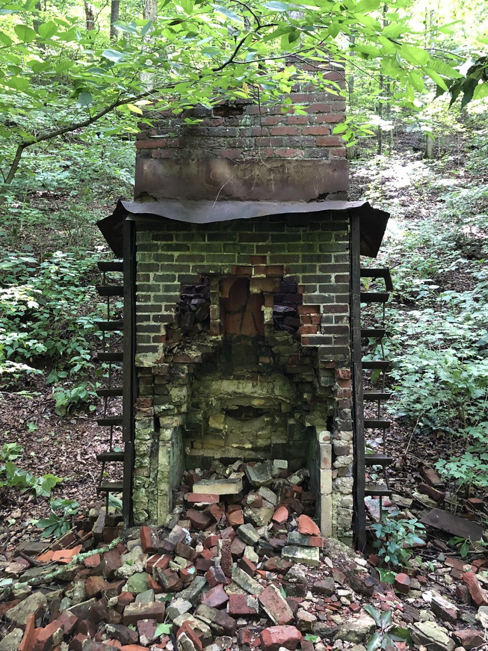Ruins of an old house (the still house?) in the woods near the river at Stillhouse Hollow Waterfall