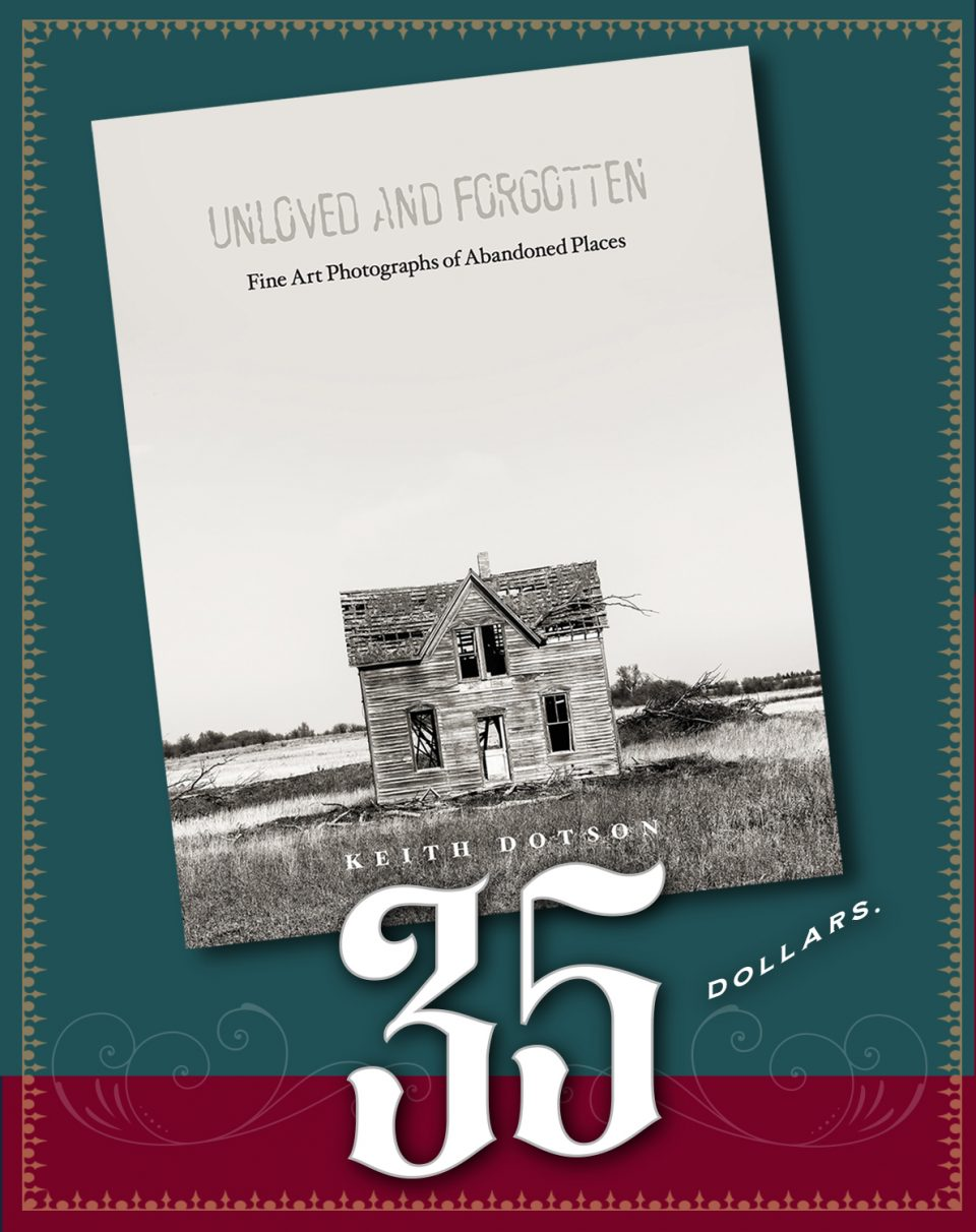 "Click the graphic to buy a signed (or unsigned) copy of my photo book ""Unloved and Forgotten"" directly from me. Be sure to use the discount code 4gotten at the time of checkout for $10 off list price. Buy a copy now."