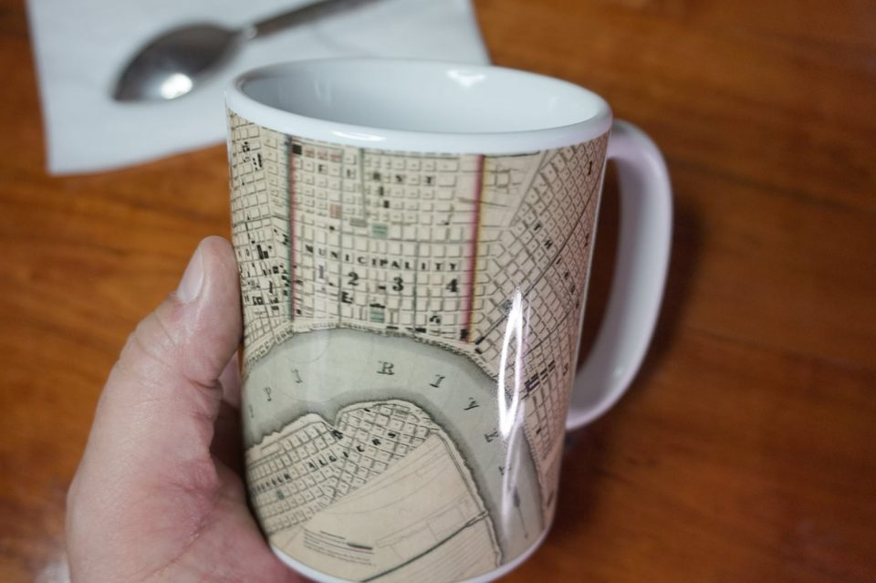 photograph of the New Orleans antique map coffee mug shown in my hand.