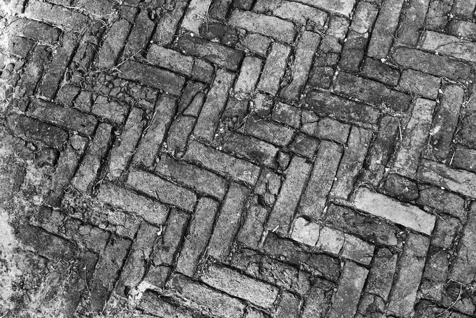 Herringbone pattern antique bricks in Rodney ghost town, Mississippi