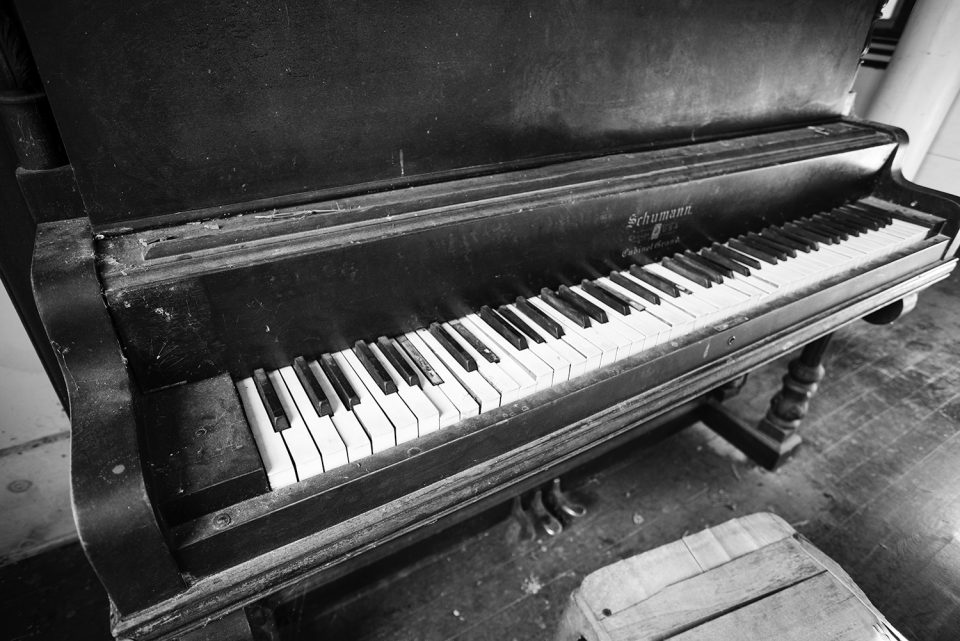The piano inside the old Presbyterian church at Rodney ghost town in Mississippi.