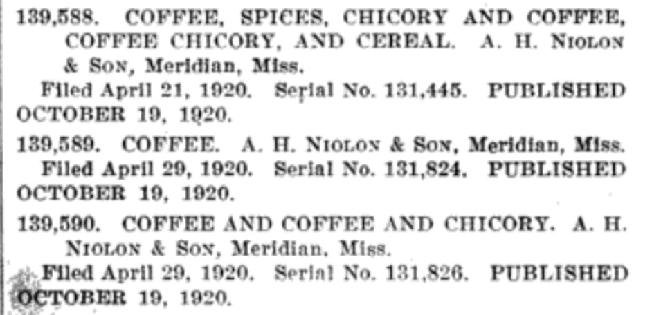 Official Gazette of the United States Patent Office, Volume 283, Feb 1921, Niolon's Coffee Trademarks 1920