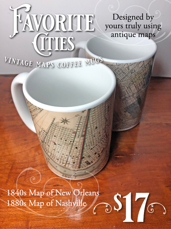Vintage map coffee mugs for two of my favorite cities, Nashville and New Orleans, for sale on my Pixels shop for $17.