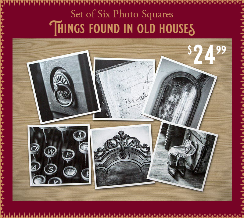 "Holiday gift idea Set of 6 photo prints on 4-inch cards, theme is ""Things found in old houses."" Buy on Etsy."