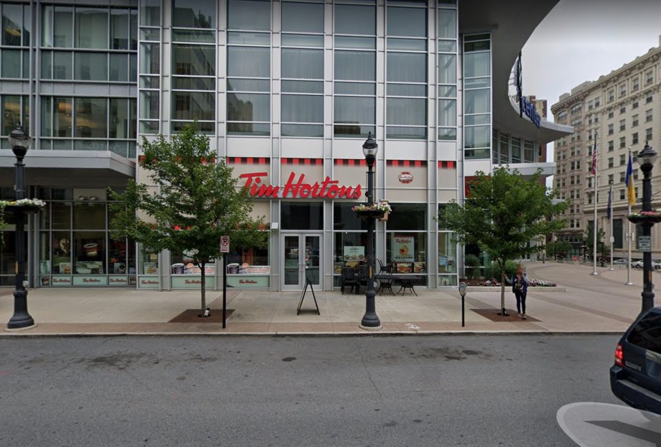 Google Street View image of a Tim Hortons restaurant on the location of 707 Hamilton in Allentown today