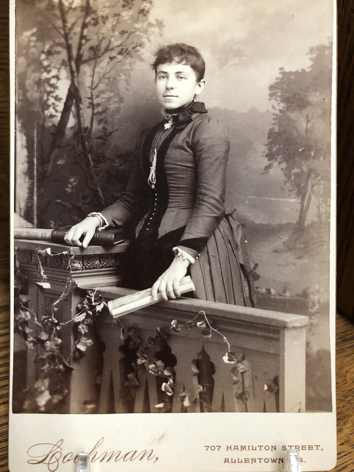 An unidentified portrait of a young lady in Victorian dress taken my Benjamin Lochman in his studio at 707 Hamilton Street in Allentown, Pennsylvania
