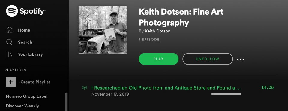 Screen shot of Keith Dotson's new podcast as seen on Spotify