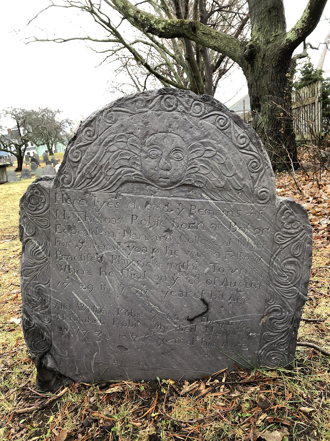 Photograph of the Thomas Robie 1729 grave marker in historic Broad Street Cemetery in Salem, Massachusetts