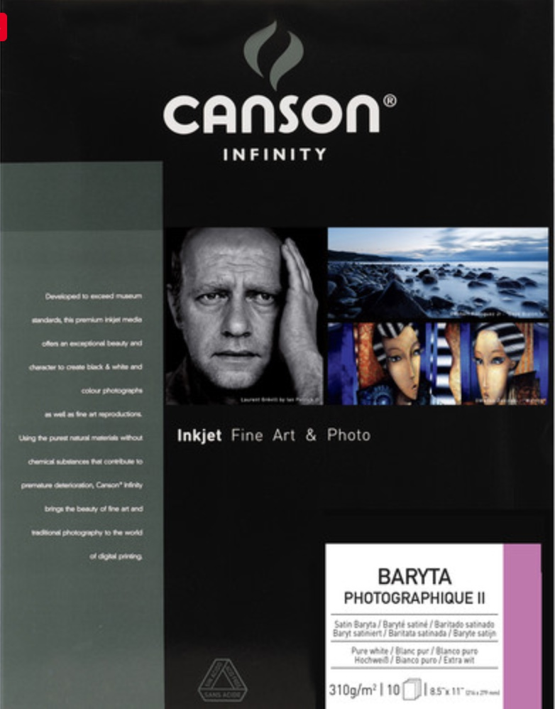 New Canson Infinity Baryta Photographique II package
