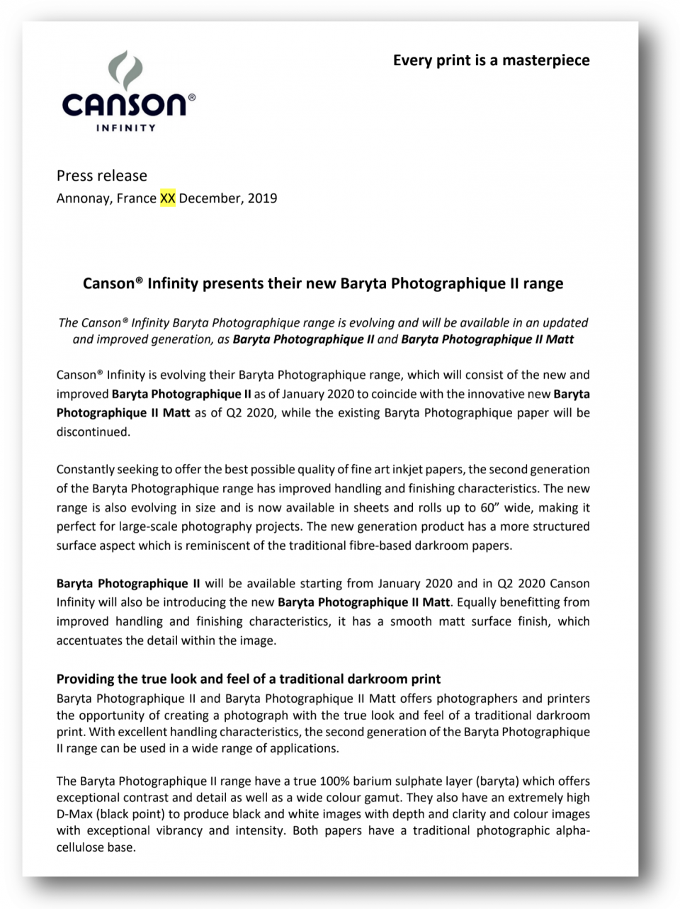 Canson's press release regarding their new Canson Infinity Baryta Photographique II