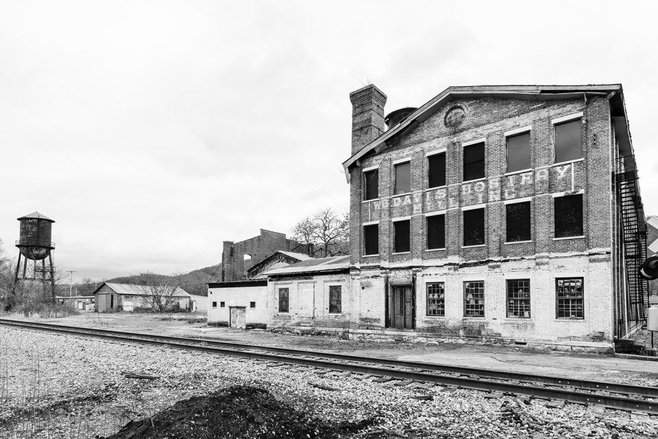 Black and white photograph of the historic W.B. Davis Hosiery Mill which operated from 1874 - 1974 in Ft. Payne, Alabama.