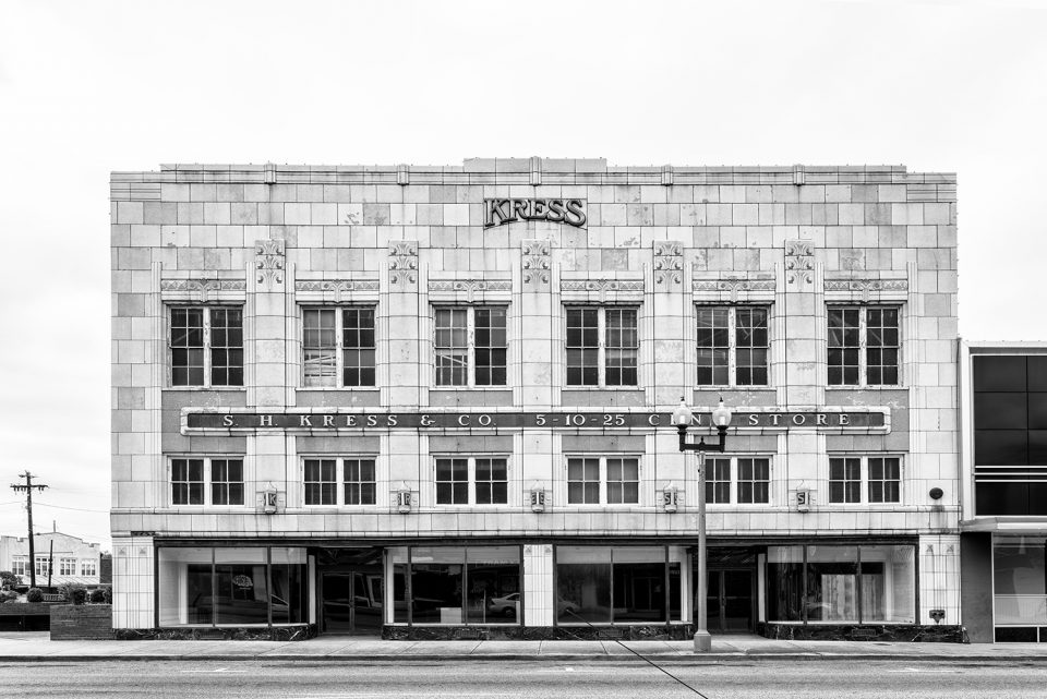Front elevation photograph of the historic Kress 5-10-25 Cent Store in Anniston, now vacant and up for sale.