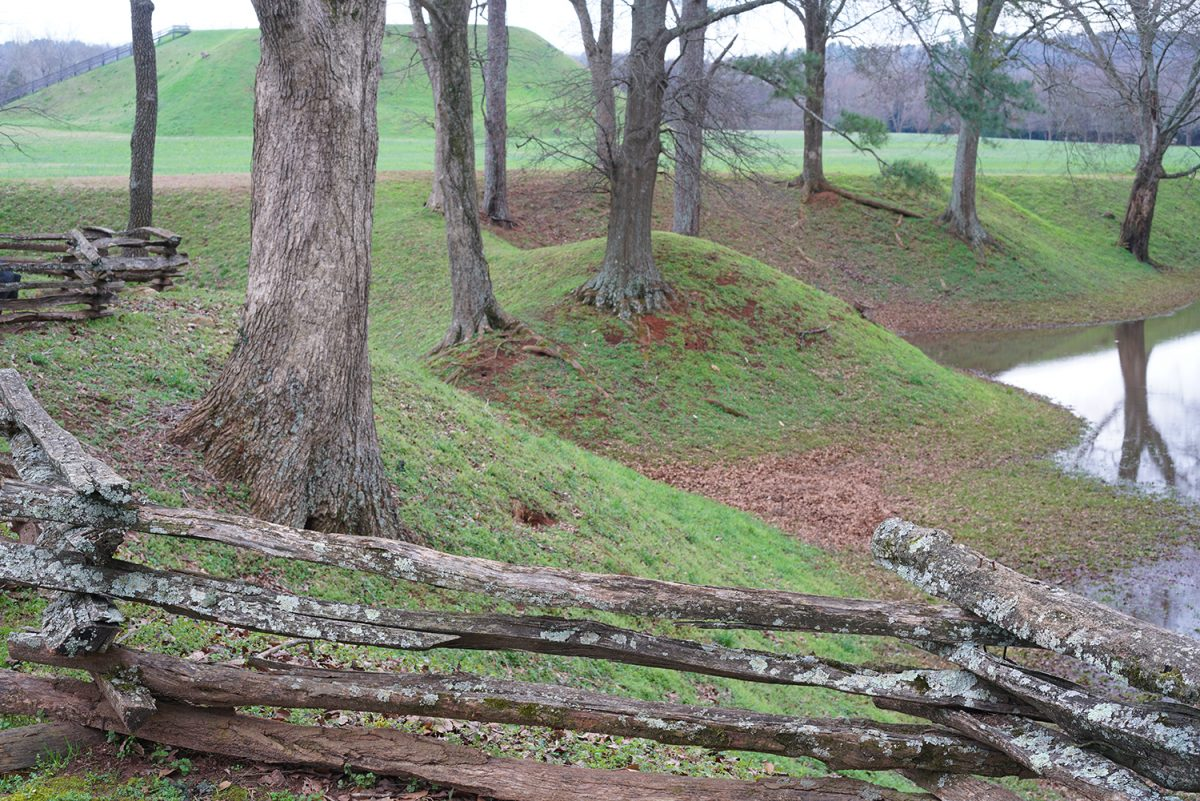 Borrow pits and mounds at Etowah Mound Site in Georgia.