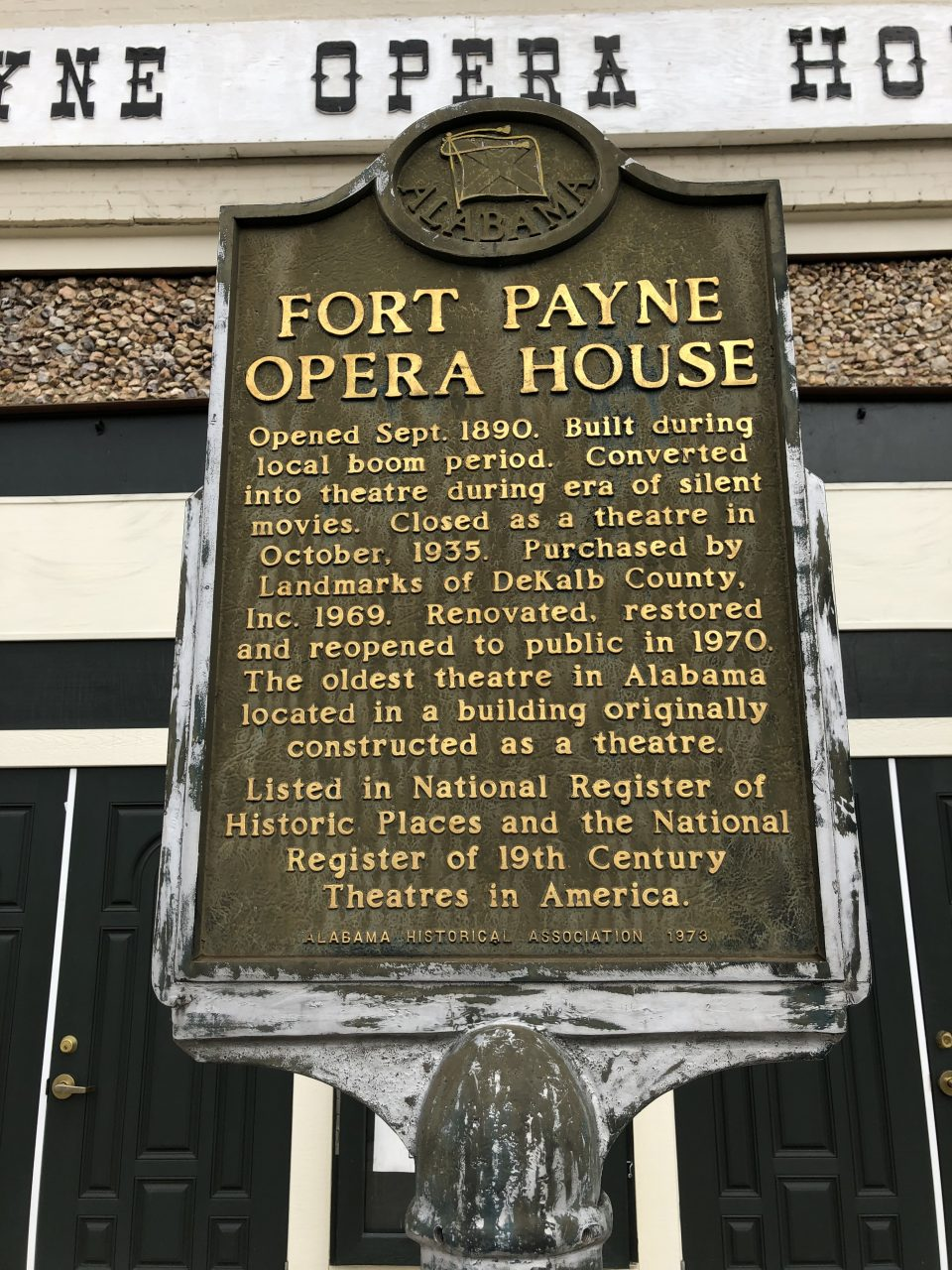 Historical Marker for the Ft. Payne Opera House.