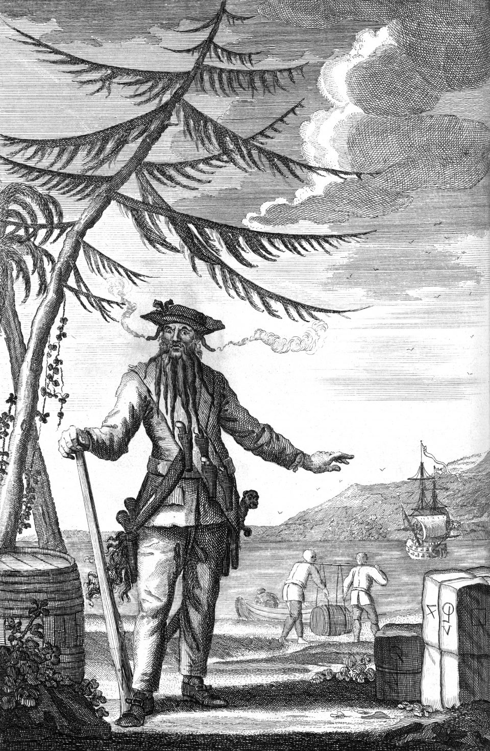 An engraving depicting Edward Teach, also known as Blackbeard the Pirate, who died in a conflict at Ocracoke Island, North Carolina in 1718. The ship Queen Anne's Revenge can be seen in the distance.