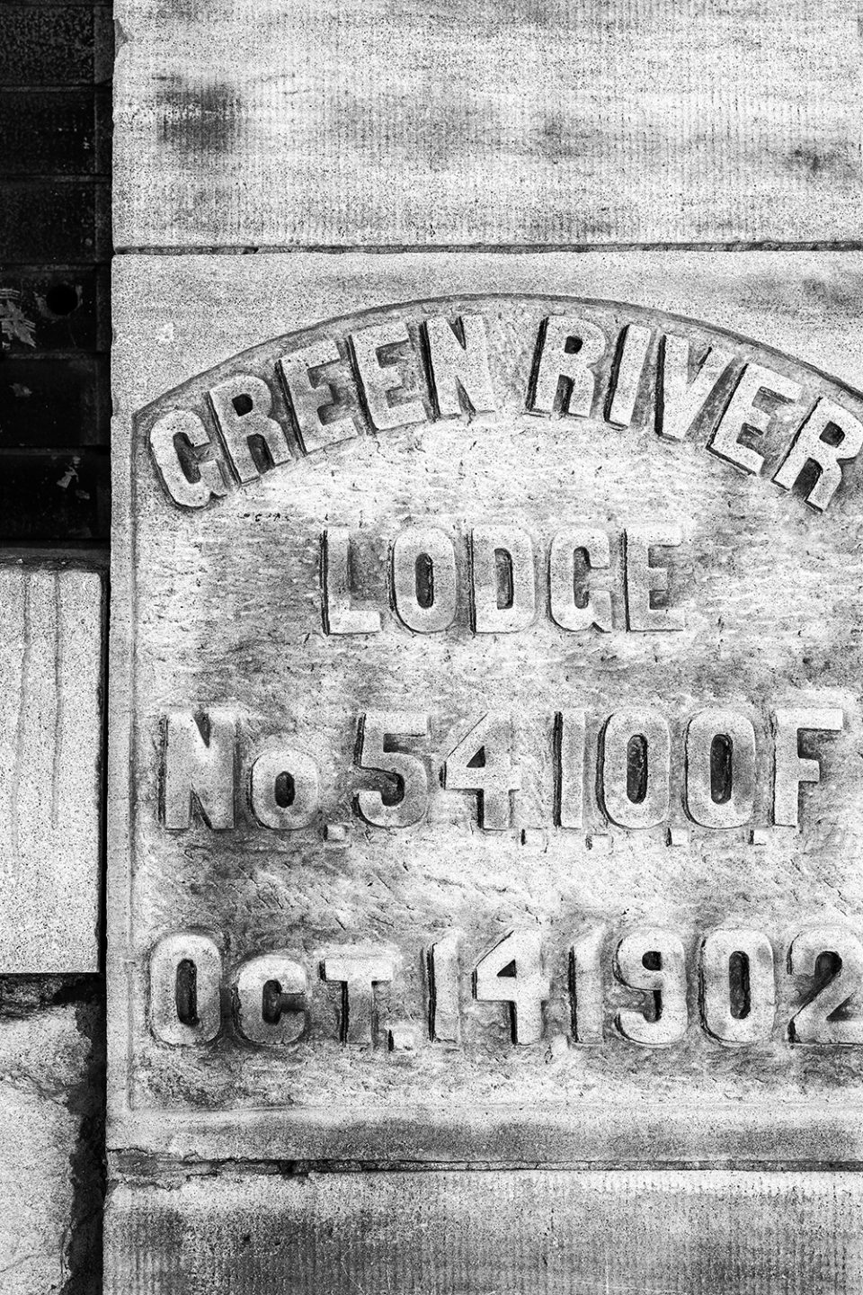 Carved stone tablet on the Green River Lodge - Oddfellows Hall on 9th Street in Hopkinsville. Originally a Cumberland Telephone and Telegraph Office