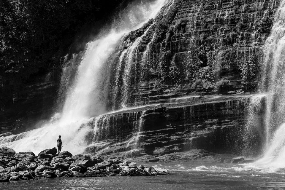 Twin Falls, black and white landscape photograph by Keith Dotson. Buy a fine art print here.