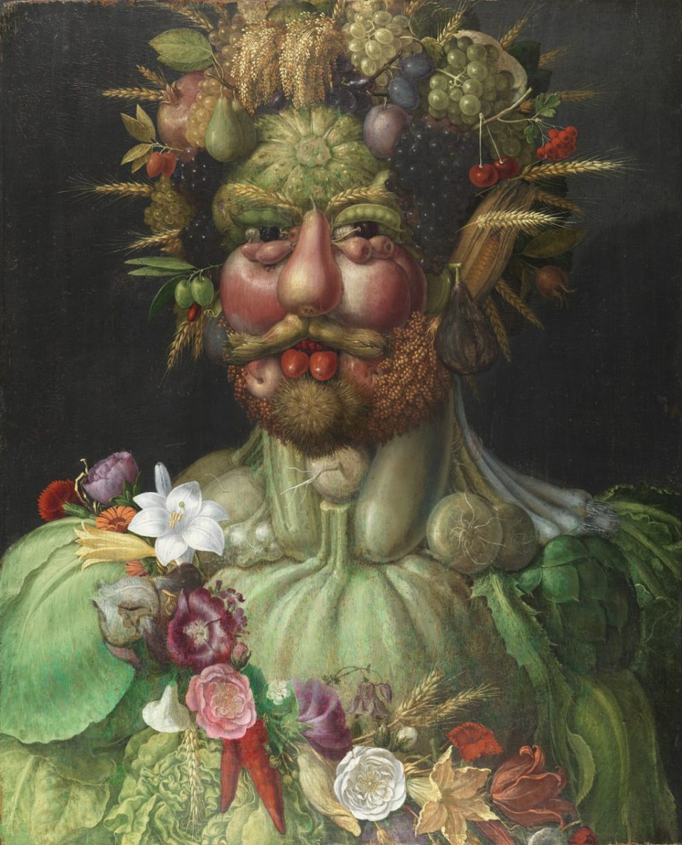 Vertumnus, a portrait depicting Rudolf II, Holy Roman Emperor painted as Vertumnus, the Roman god of the seasons, c. 1590–91, by Giuseppe Arcimboldo.