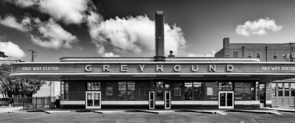 Black and white photograph of the historic Greyhound Bus Station in Jackson, Tennessee, built 1938. Fine art panoramic prints up to size 60-inches wide by 25-inches tall.