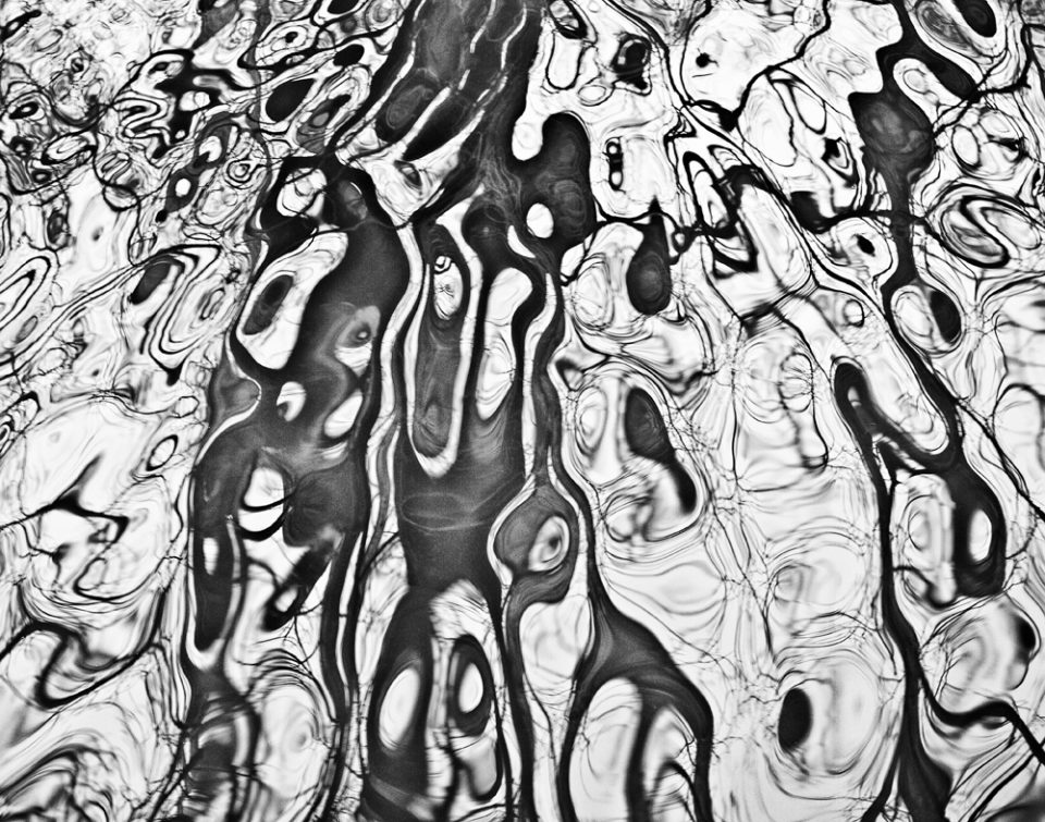 River Ripple Abstraction, black and white photograph by Keith Dotson.