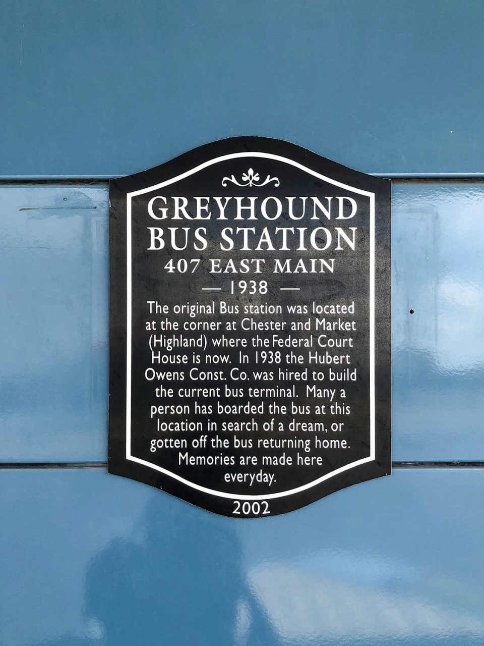 Sign giving historical context of the 1938 Greyhound station in Jackson, Tennessee